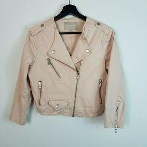 Banana Republic Moto Denim Jacket Light Pink